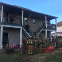 Fire department responds to house fire.